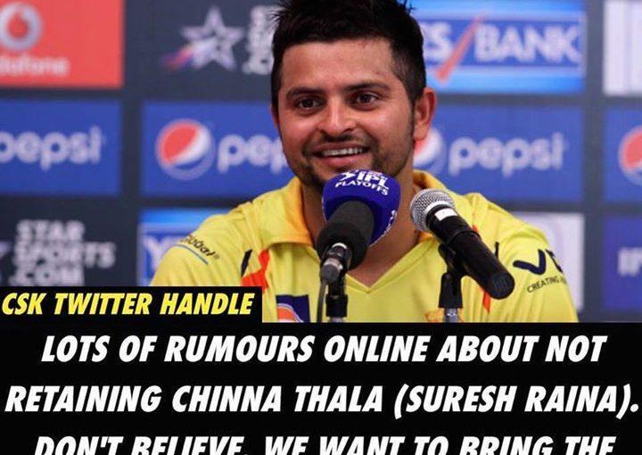 Chennai Super Kings Twitter จัดการกับรายงานการระงับความรู้สึกของการไม่รักษา Suresh Raina …
