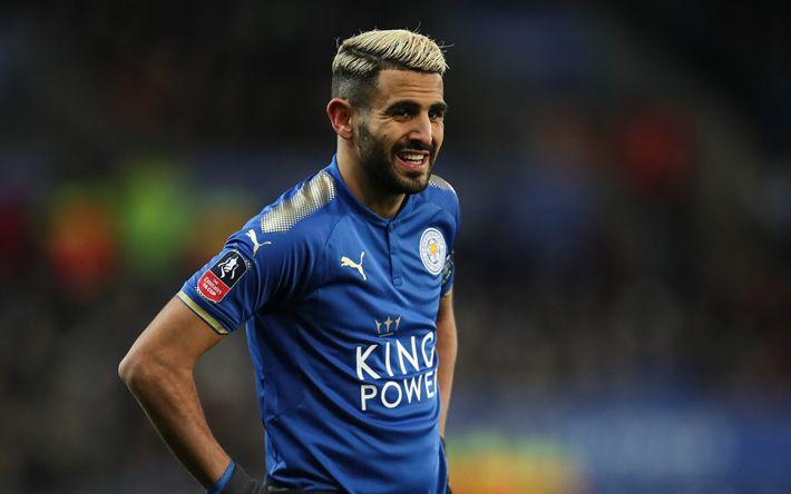 ดาวน์โหลดวอลเปเปอร์ Riyad Mahrez, 4k, ฟุตบอล, พรีเมียร์ลีก, นักฟุตบอล, ฟุตบอล …