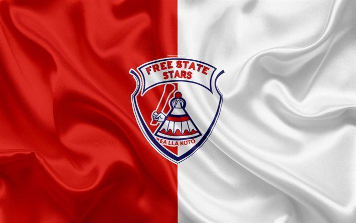 ดาวน์โหลดวอลเปเปอร์ฟรีสเตทสตาร์เอฟซี, 4k, โลโก้, ธงไหมสีแดงสีแดง, South Af …