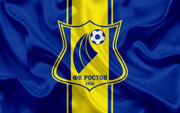 ดาวน์โหลดวอลเปเปอร์ FC Rostov, 4k, สโมสรฟุตบอลรัสเซีย, โลโก้, สัญลักษณ์ Rostov, R …