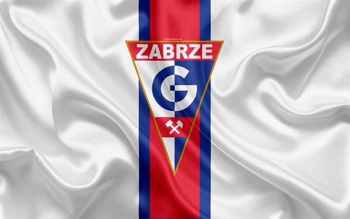 ดาวน์โหลดวอลเปเปอร์ Gornik Zabrze FC, 4k, สโมสรฟุตบอลโปแลนด์, โลโก้ Gornik, emb …