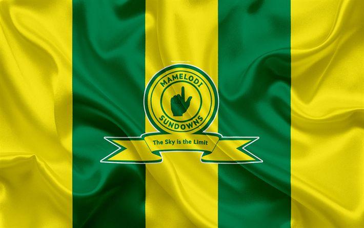 ดาวน์โหลดวอลเปเปอร์ Mamelodi Sundowns FC, 4k, โลโก้, ธงสีเขียวสีเหลืองผ้าไหม, Sout …