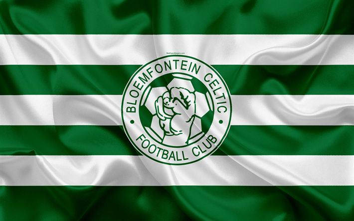 วอลล์เปเปอร์ Bloemfontein Celtic FC, 4k, โลโก้, ธงผ้าไหมสีขาวสีเขียว, Sou …