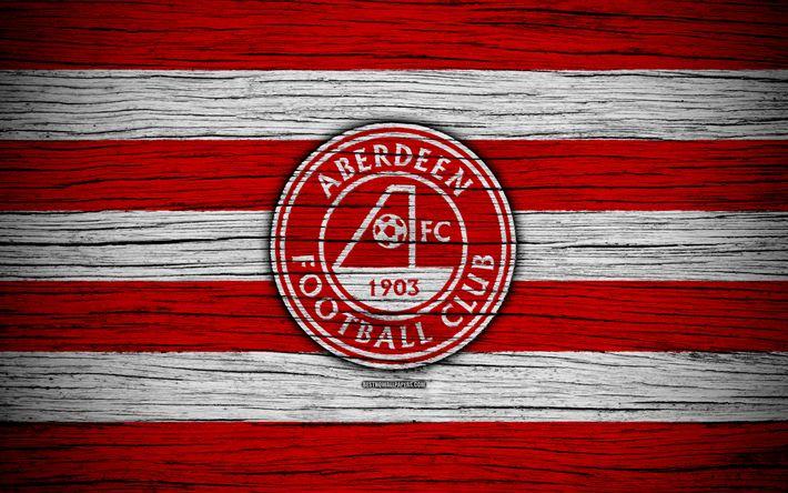 ดาวน์โหลดวอลเปเปอร์ 4k, อเบอร์ดีนเอฟซี, โลโก้, สกอตแลนด์พรีเมียร์ชิพ, ฟุตบอล, ฟุตบอล …