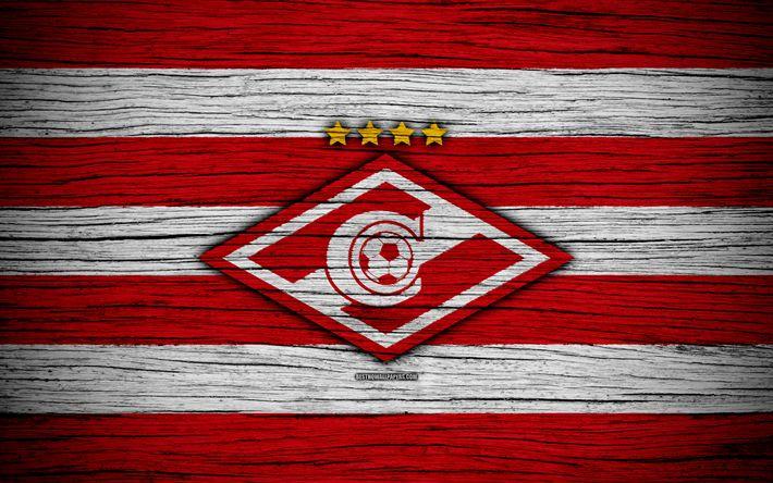 ดาวน์โหลดวอลเปเปอร์ FC Spartak มอสโก, 4k, เนื้อไม้, Premier Premier Leagu …