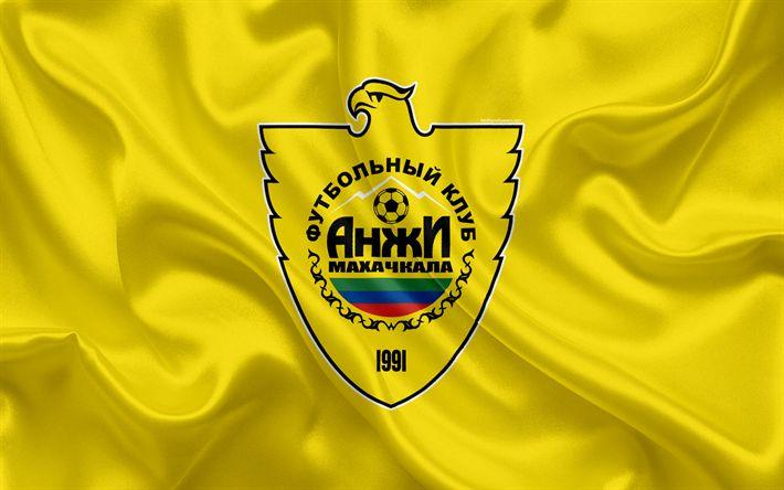 ดาวน์โหลดวอลล์เปเปอร์ FC Anzhi Makhachkala, 4k, สโมสรฟุตบอลรัสเซีย, โลโก้, emble …