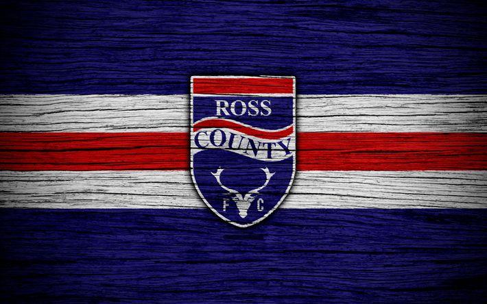 ดาวน์โหลดภาพพื้นหลัง 4k, Ross County FC, โลโก้, พรีเมียร์ชิพสก็อต, ฟุตบอล, เท้า …
