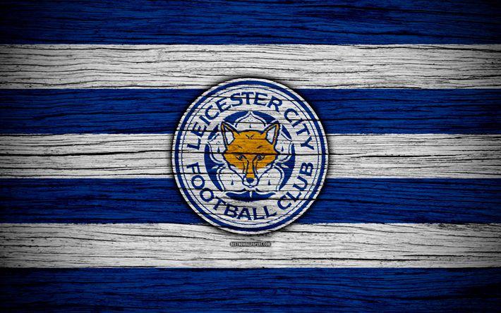 ดาวน์โหลดวอลล์เปเปอร์ Leicester City, 4k, พรีเมียร์ลีก, โลโก้, อังกฤษ, ไม้ …