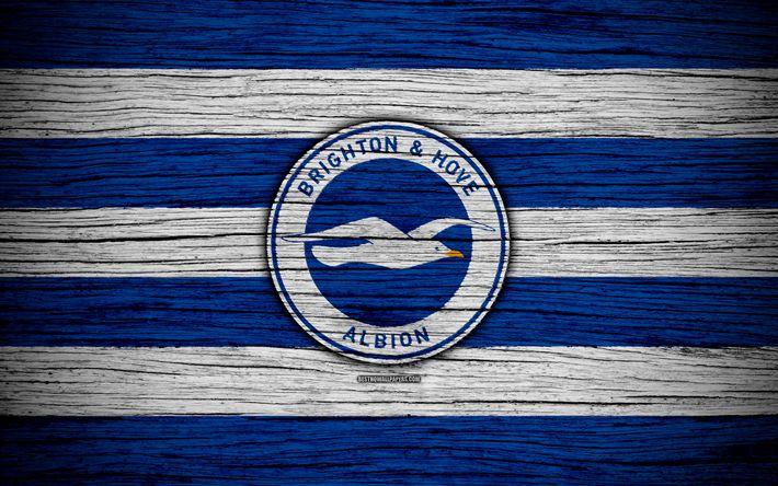 ดาวน์โหลดวอลล์เปเปอร์ Brighton and Hove Albion, 4k, พรีเมียร์ลีก, โลโก้, อังกฤษ, …