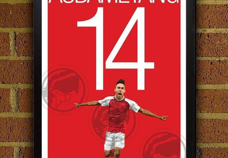 Pierre-Emerick Aubameyang 14 Arsenal FC – โปสเตอร์ฟุตบอลพรีเมียร์ลีกอังกฤษ – …