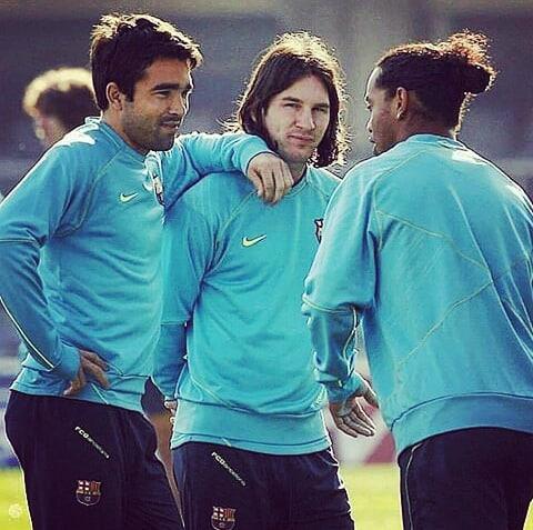 Deco, Messi และ Ronaldinho  @fcbarcelona #spain #portugal #argentina #brazil #d …